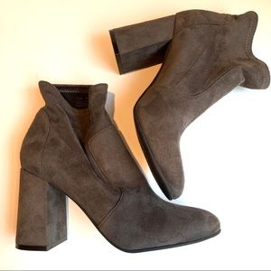 Grey microsuede booties, 7.5
